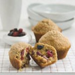 Sugar-Dusted Wheat Muffins with Berries & Cherries recipe