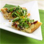 White Anchovy Coca Flatbread with Gran Canaria, Chopped Arugula, Almonds, Orange Zest and Extra Virgin Olive Oil recipe