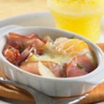 Baked Eggs with Canadian Bacon, Tomato and Potatoes recipe