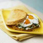 Fried Egg Sandwich with Spinach, Mushrooms, Onions and Aged Gouda Mornay Sauce recipe