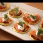 Blini with Smoked Salmon and Sour Cream Dressing recipe