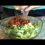 Salad of Greens, Avocado, Shrimp and Cheddar Cheese recipe