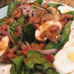 Spinach Salad with Grapes & Pancetta recipe