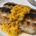 Thai-Style Pork Chops with Ginger-Peach Salsa recipe