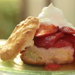 Warm Minted Sweet Biscuits with Strawberries and Cream recipe